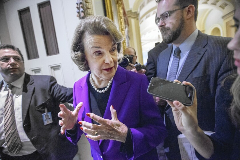 Sen. Dianne Feinstein (D-Calif.) speaks to reporters after releasing the report on the CIA's harsh interrogation methods.