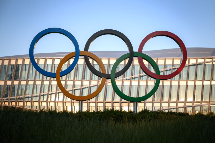 The Olympic rings in front of the International Olympic Committee headquarters in Switzerland.