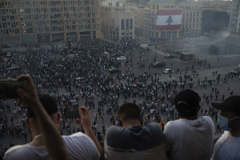 A protest in Beirut following the deadly explosion at the port.