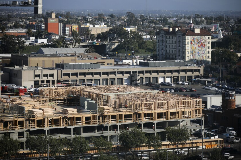 This photo shows construction of an apartment complex in San Diego's East Village.