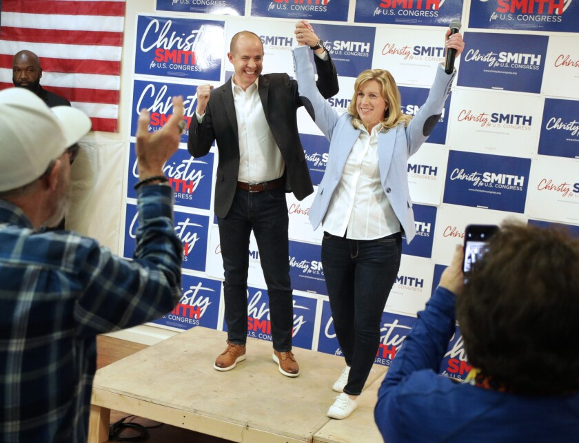 Democratic Assemblywoman Christy Smith is introduced during an election night celebration