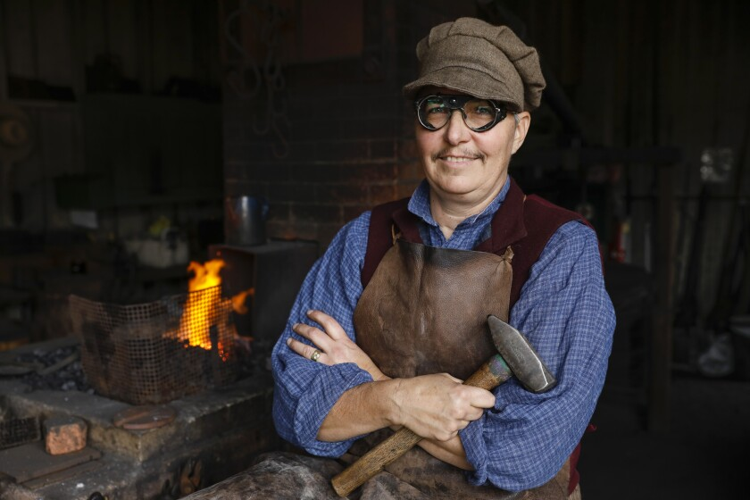 Beth Holmberg is a renowned blacksmith who has trained hundred of blacksmiths in San Diego and worldwide. She has volunteered at San Diego's Old Town Blacksmith Shop for the last 15 years.