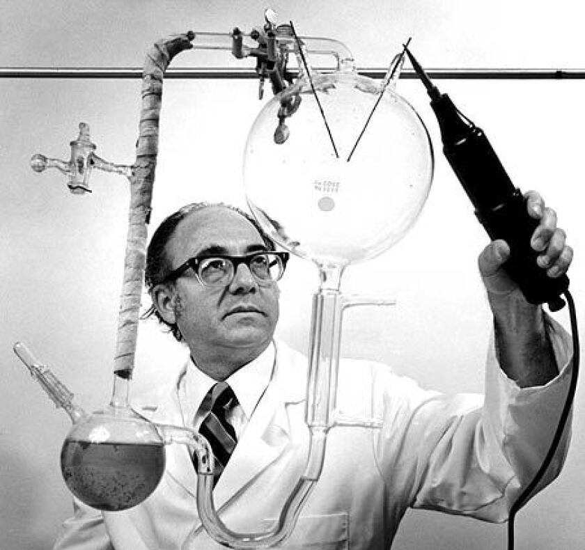 Stanley L. Miller; UC San Diego chemist Stanley L. Miller, professor of chemistry at UC San Diego, pictured in 1981. Miller, who was the first to demonstrate that the organic molecules necessary for life could be generated in a laboratory flask, died Sunday from heart failure in a hospital in National City. He was 77.