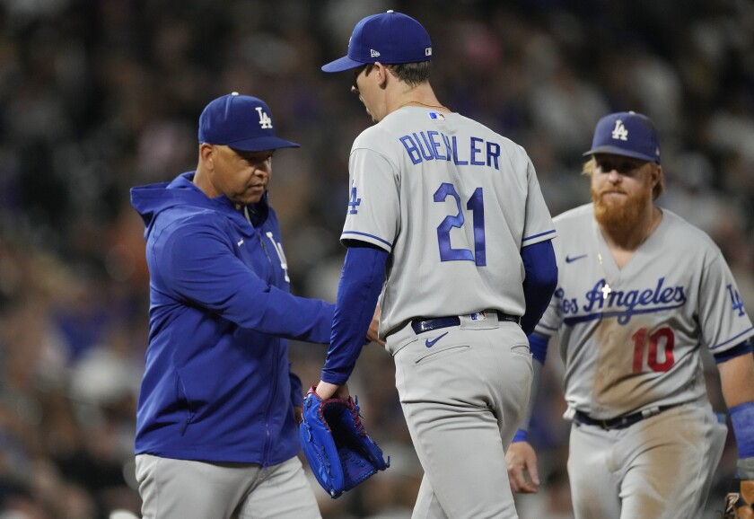 Walker Buehler is removed from Wednesday's game in the fourth inning.