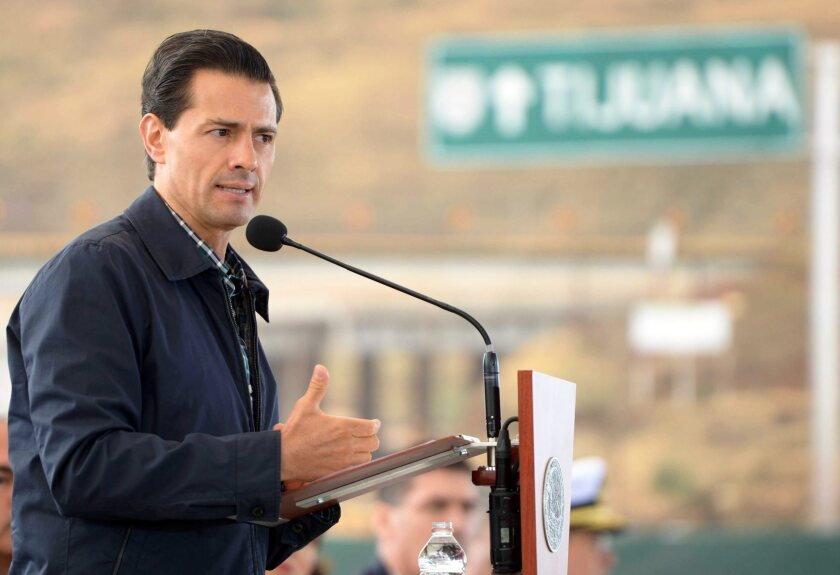 Mexican President Enrique Peña Nieto speaks during an event at Rosarito Beach on May 9.