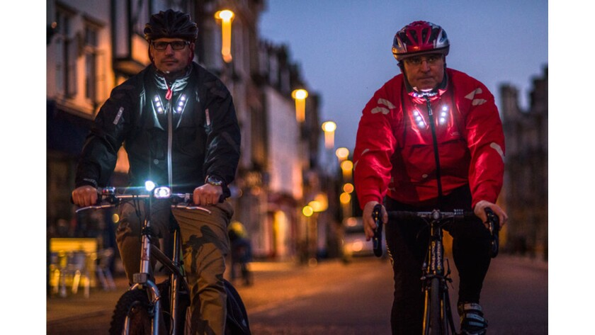 The motion-sensing Visijax cycling jacket (visijax.com) has a built-in LED turn signal that blinks when you raise your arm up to indicate you're making a turn.