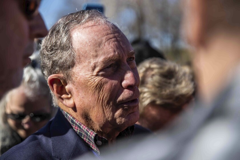 Democratic presidential candidate Michael Bloomberg greets supporters after his speech during his presidential campaign in Austin, Texas, Saturday, Jan. 11, 2020. (Lola Gomez/Austin American-Statesman via AP)