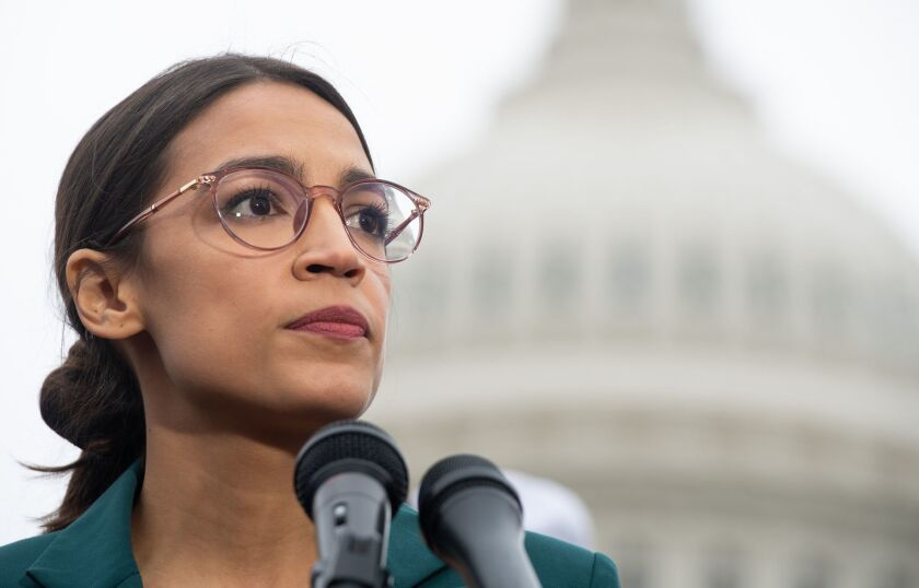 Rep. Alexandria Ocasio-Cortez speaks during a press conference to announce the Green New Deal in Washington on Feb. 7, 2019.