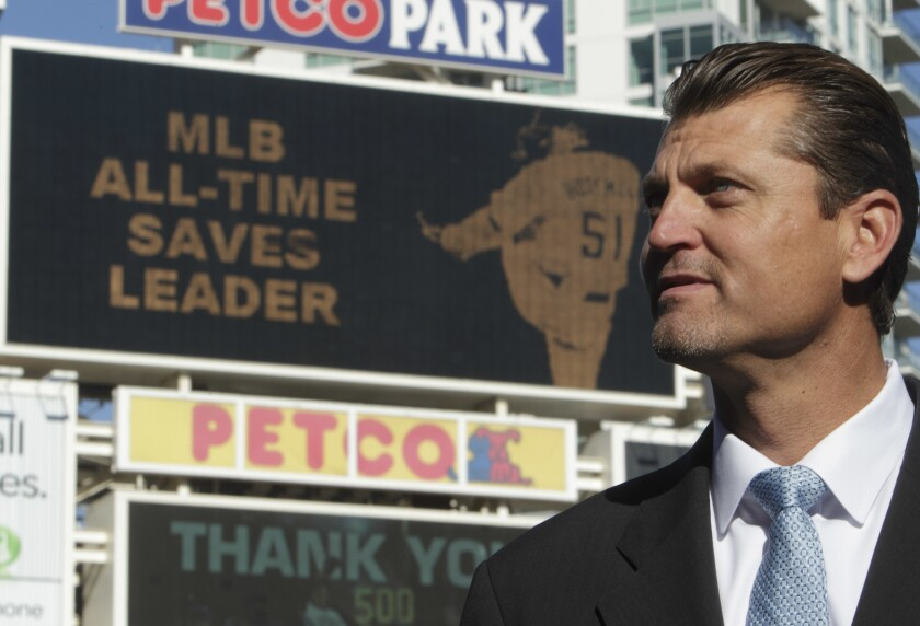 Trevor Hoffman speaks to journalists after announcing his retirement at Petco Park in San Diego.