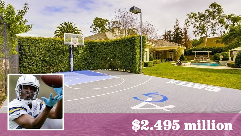 L.A. Chargers tight end Antonio Gates has listed his Poway estate for sale at $2.495 million.