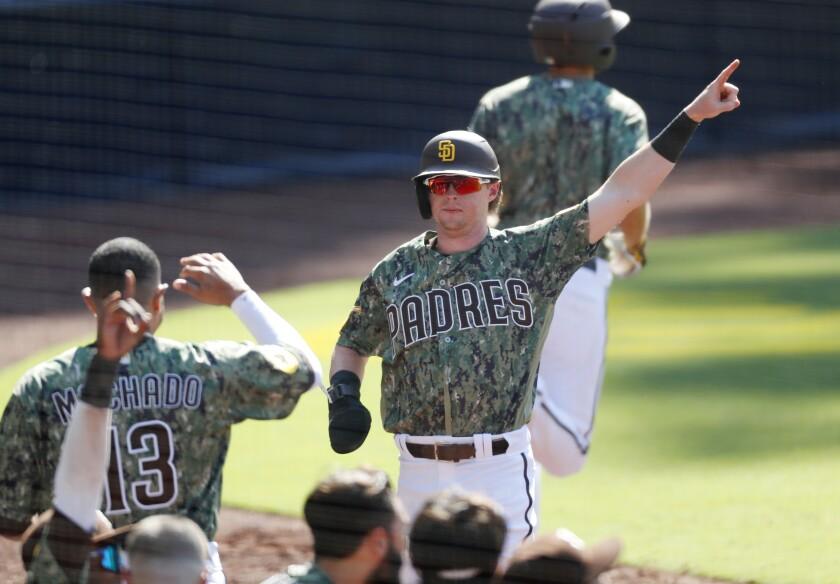 Padres' Jake Cronenworth scored as pinch runner in the eighth inning Sunday against Arizona at Petco Park.