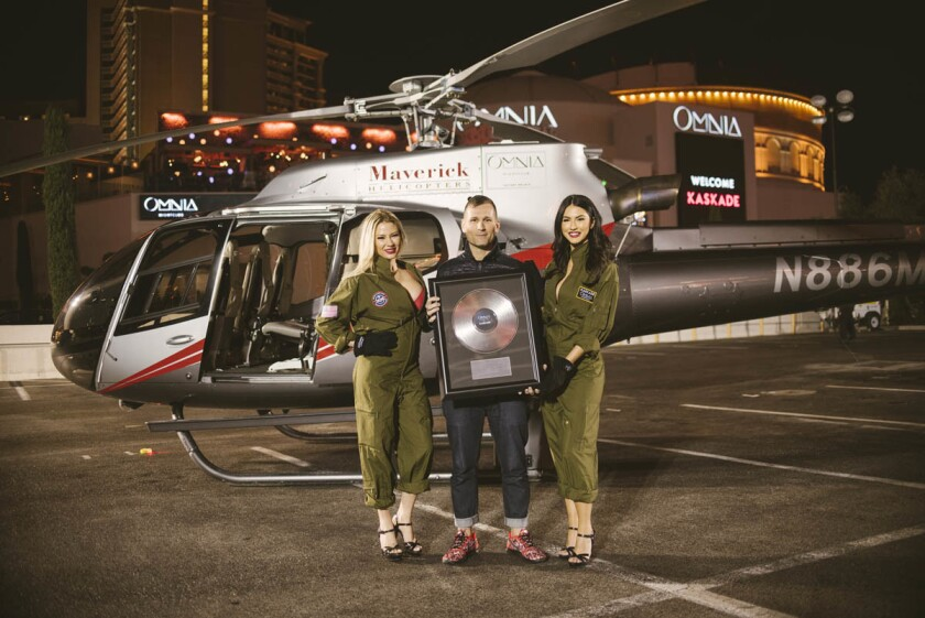 Kaskade announced his residency at Omnia in La Vegas by arriving in a helicopter. (Aaron Garcia)
