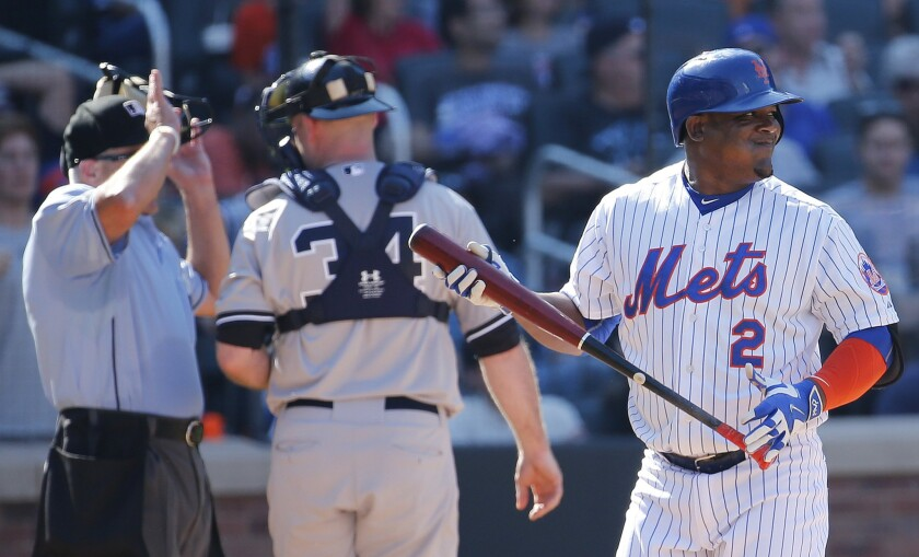 New York Mets third baseman Juan Uribe looks on after striking out with the bases loaded against the New York Yankees during a game Sept. 19.