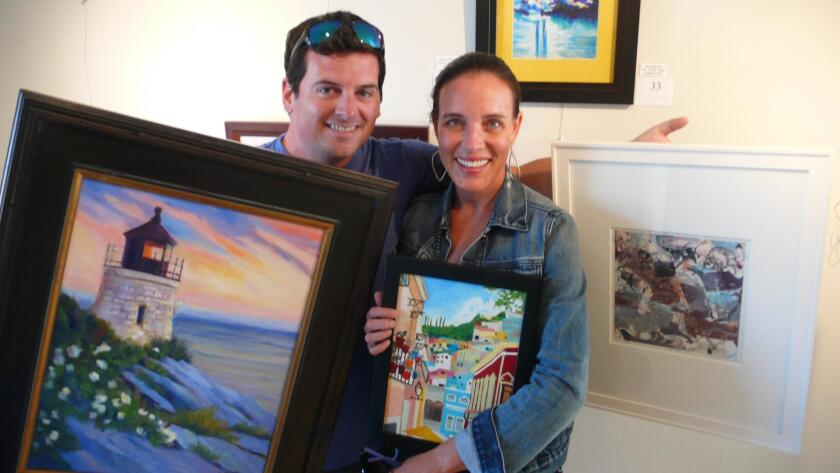 Mathew and Mary Cantonis leave with three paintings