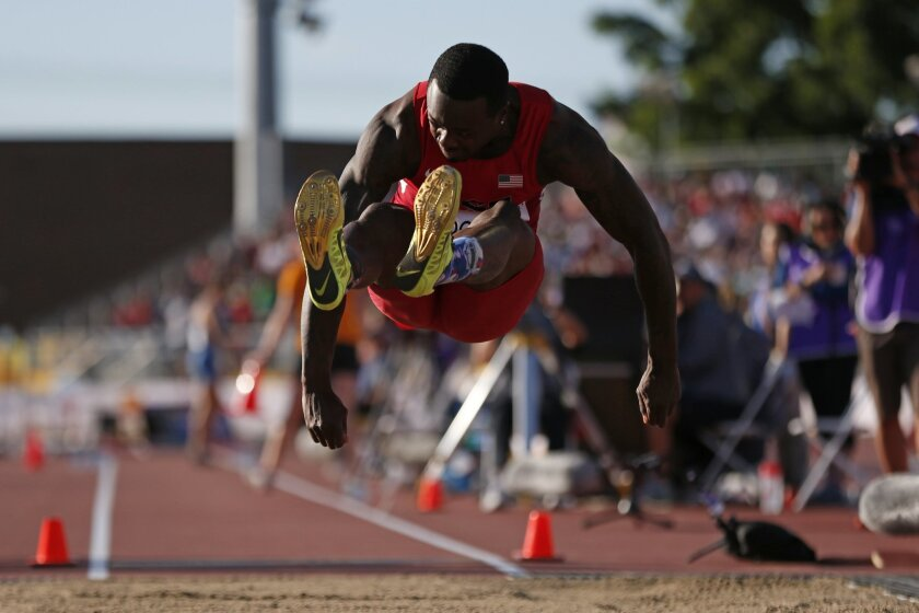 USA's Marquise Goodwin competes during the finals of the men's long jump at the Pan Am Games in Toronto, Wednesday, July 22, 2015. (AP Photo/Rebecca Blackwell)
