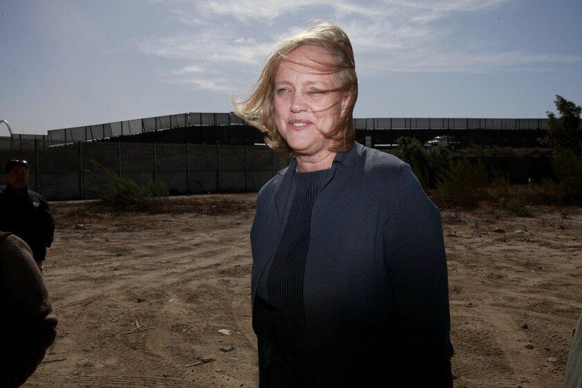 Gubernatorial hopeful Meg Whitman toured the border near San Ysidro last October.
