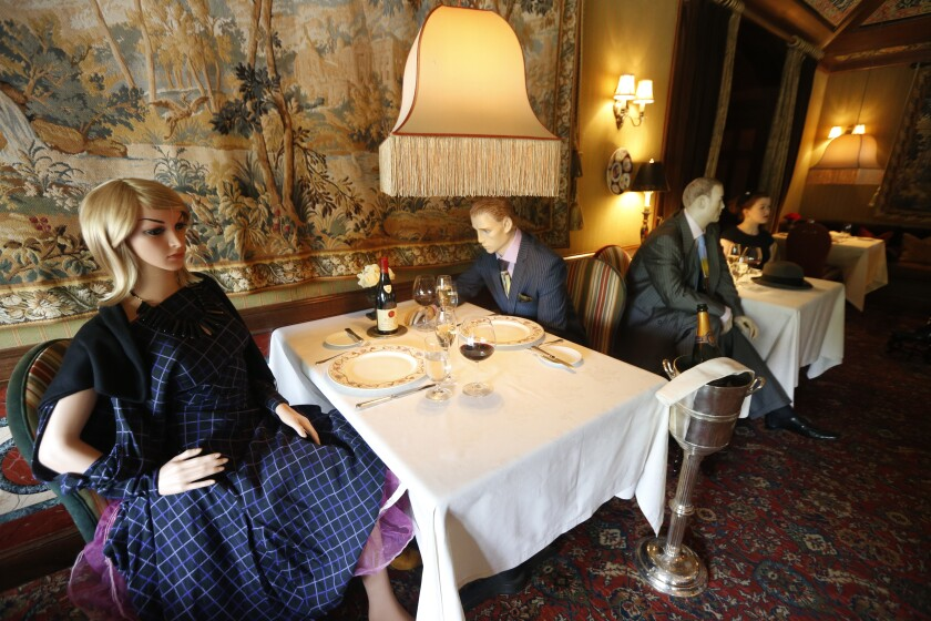 Mannequins provide social distancing at the Inn at Little Washington as they prepare to reopen their restaurant.