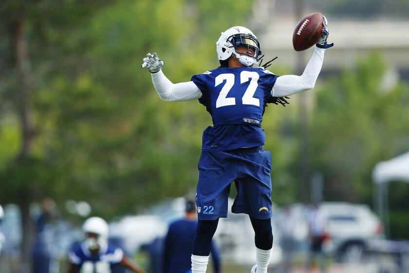 Chargers Jason Verrett makes a catch during practice.