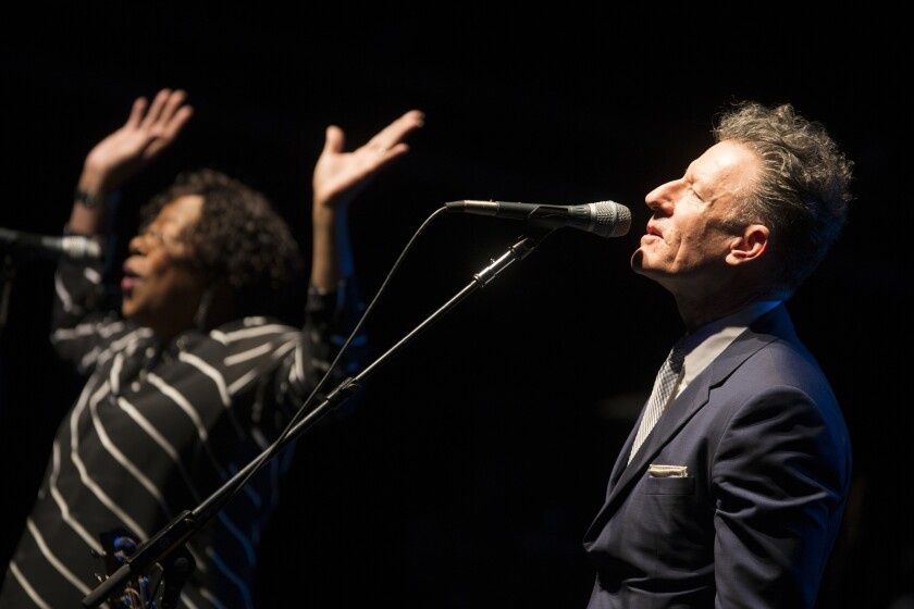 """Vocal dynamo Francine Reed (left) has been a member of Lyle Lovett's Large Band since the 1980s. """"It's like getting to go to a fantasy camp to stand on stage with (drum great) Russ Kunkel, (bassist) Viktor Krauss and Francine Reed,"""" says Lovett."""