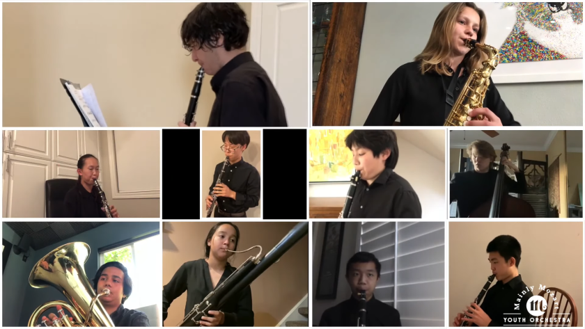 Students performed a virtual concert in June as part of the Mainly Mozart Youth Orchestra.