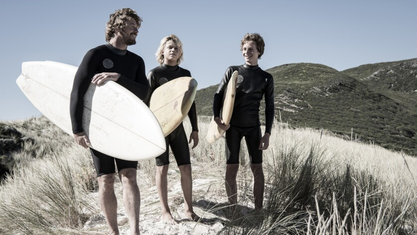 (L-R) - Simon Baker as Sando and Ben Spence as Loonie and Samson Coulter as Pikelet in a scene from
