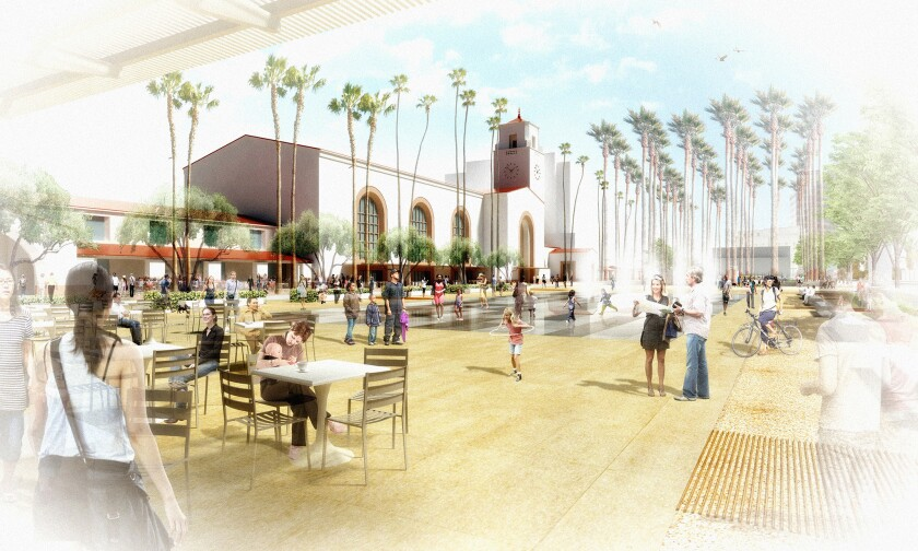 Bringing Union Station to the city, a landscaped plaza and forecourt will replace an existing surface parking lot to create an urban room with seating, kiosks, shade trees and other amenities near the station entrance.