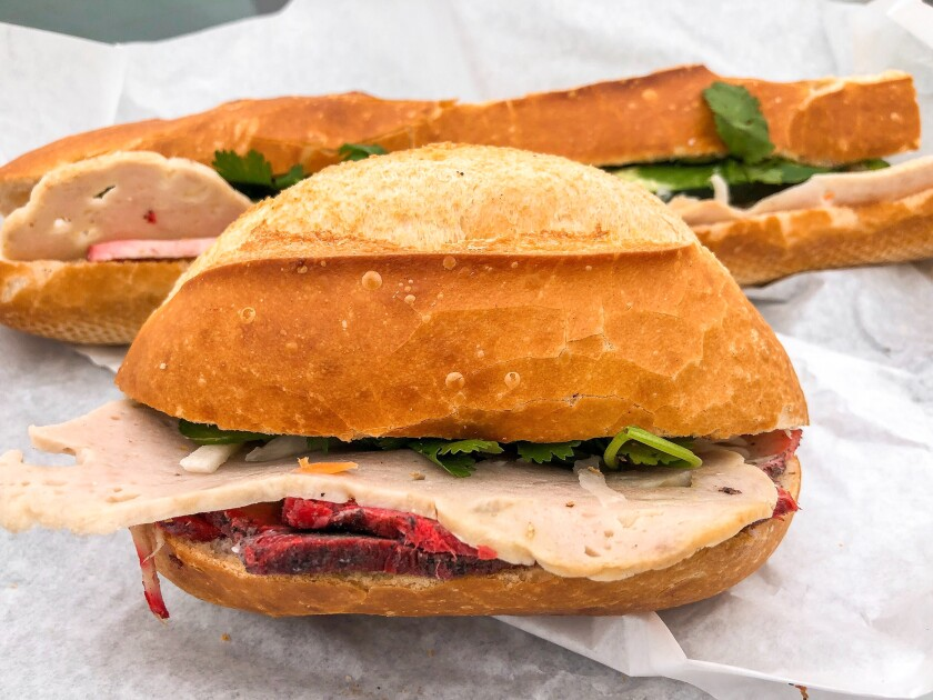 Dac biet in baguette and roll versions from Saigon's Bakery/Banh Mi Saigon in Garden Grove.