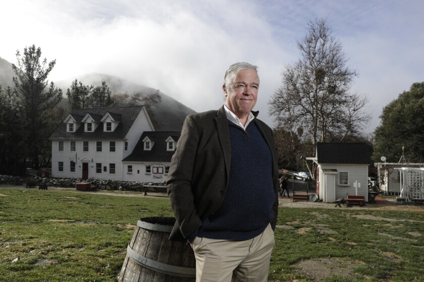 James Patrick Riley is owner of Riley's Farm, an orchard in Oak Glen that stages historical reenactments of Colonial times.