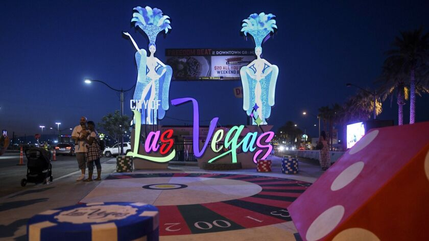 A new Las Vegas gateway sign is lit up after being dedicated Tuesday, August 7, 2018. CREDIT: Sam M