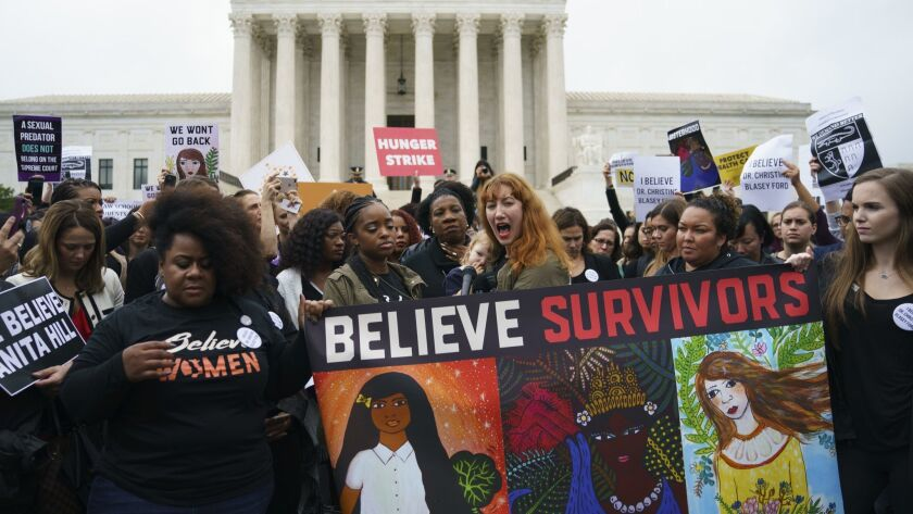Protesters gather in front of the Supreme Court on Sept. 24 to protest the nomination of Judge Brett Kavanaugh in light of a sexual assault allegation against him.