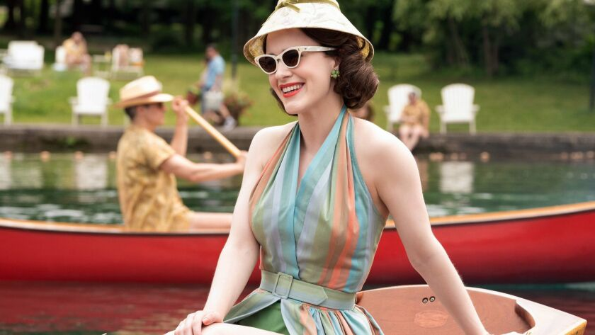 """This image released by Amazon shows Rachel Brosnahan in a scene from """"The Marvelous Mrs. Maisel."""" O"""