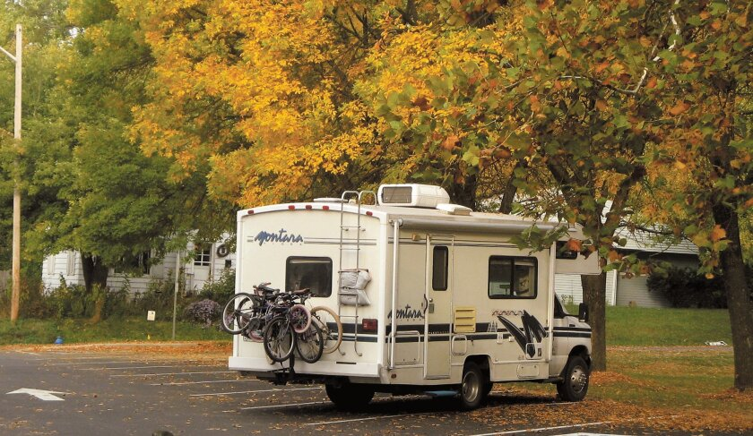 The family RV parked in a Bloomington, Ind., lot during a three-month adventure that began in September of 2008.
