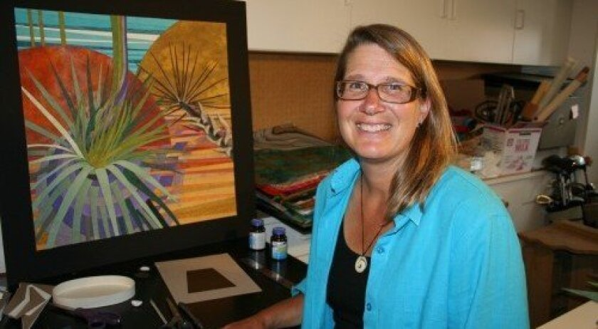 Carmel Valley paper tapestry artist Sue Britt is now a part of Balboa Park's Spanish Village Art Center. Photo: Karen Billing