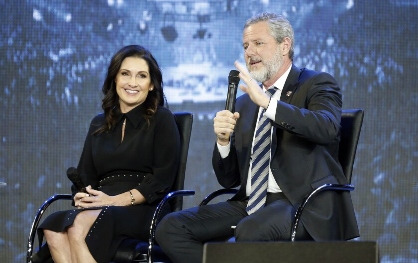 The Rev. Jerry Falwell Jr. and his wife, Becki