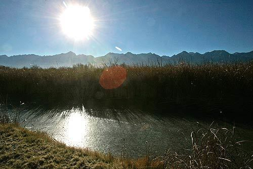 The sun glistens off the icy surface of a pond along the course of the Lower Owens River near the Eastern Sierra Nevada community of Independence. An ambitious, court-ordered restoration project on 62 miles of the Lower Owens River seeks to revitalize wetlands and natural habitat that existed before much of the river's water was diverted to supply the needs of Los Angeles.