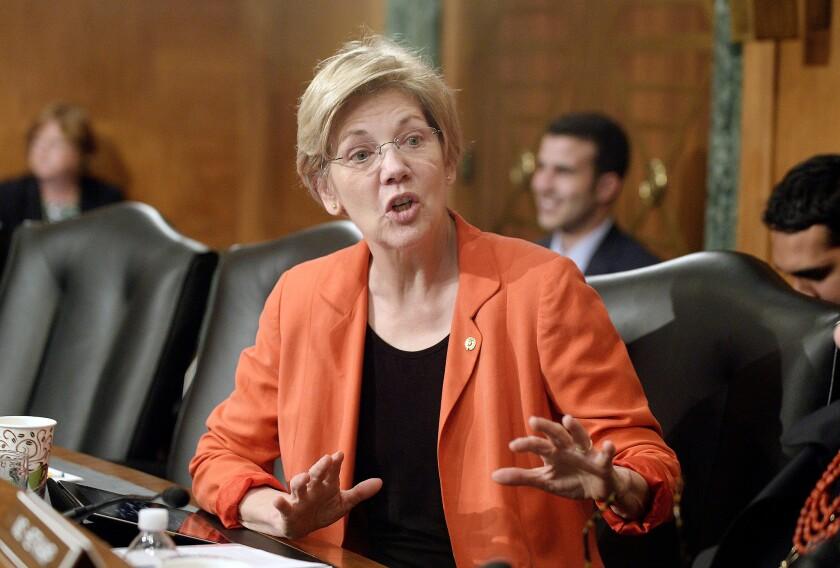 Elizabeth Warren attends bank hearing