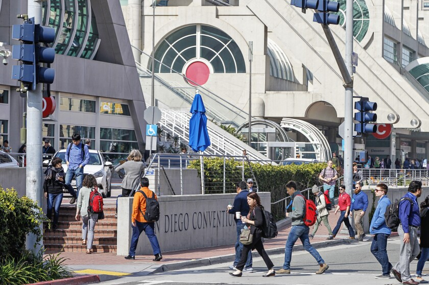 The San Diego Convention Center along Harbor Drive in downtown on February 18, 2020 in San Diego