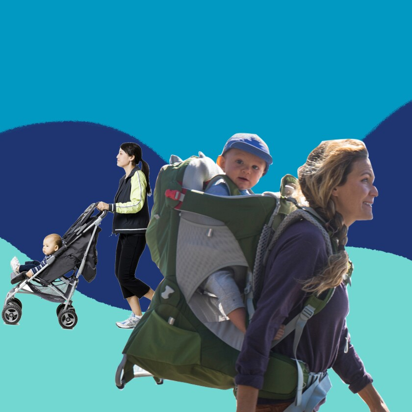 Illustration of a woman pushing a stroller and a woman with a baby in a backpack