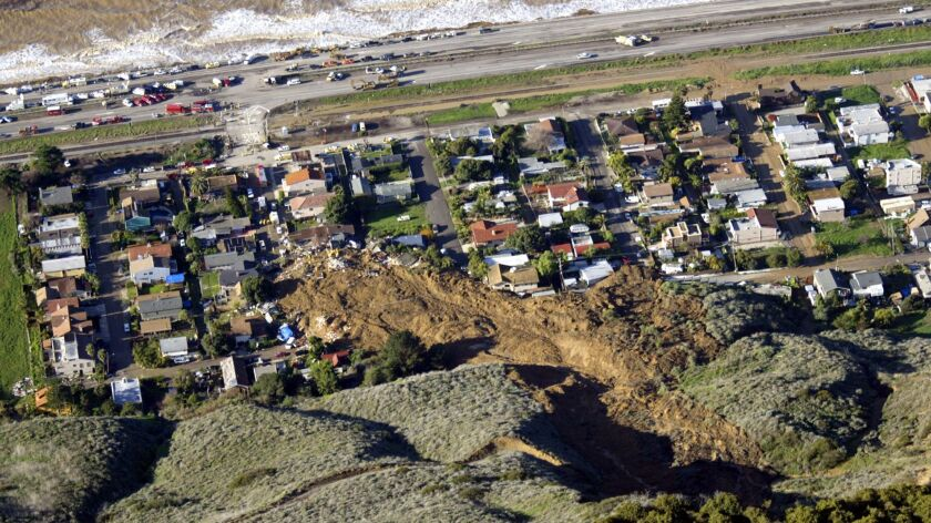 A deep-seated landslide buried 10 people, killing them, in 2005 in La Conchita.