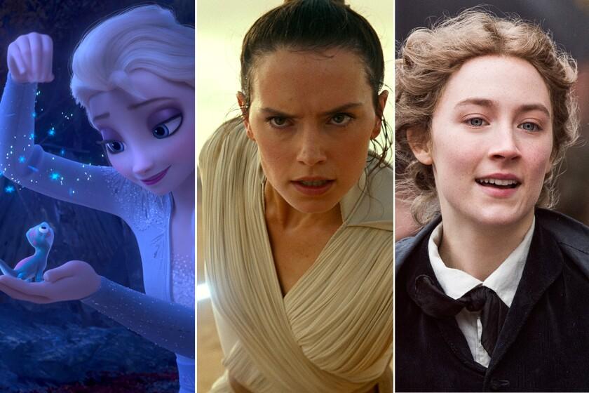 """Elsa (Idina Menzel) in """"Frozen 2,"""" Daisy Ridley in """"Star Wars: The Rise of Skywalker"""" and Saoirse Ronan in """"Little Women."""""""