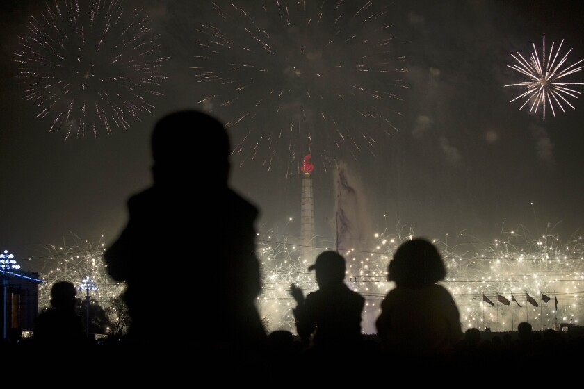 Fireworks are set off in Pyongyang, North Korea, to celebrate the birthday of the late Kim Il Sung, the country's founding leader.