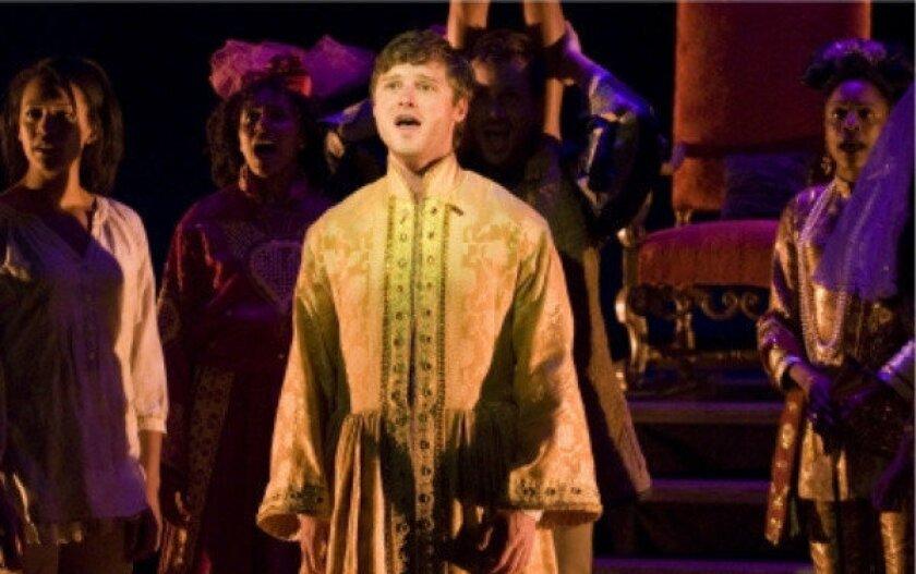 """Bobby Steggert in a scene from """"The Nightingale"""" at the La Jolla Playhouse. The new musical has received criticism for its casting choices."""