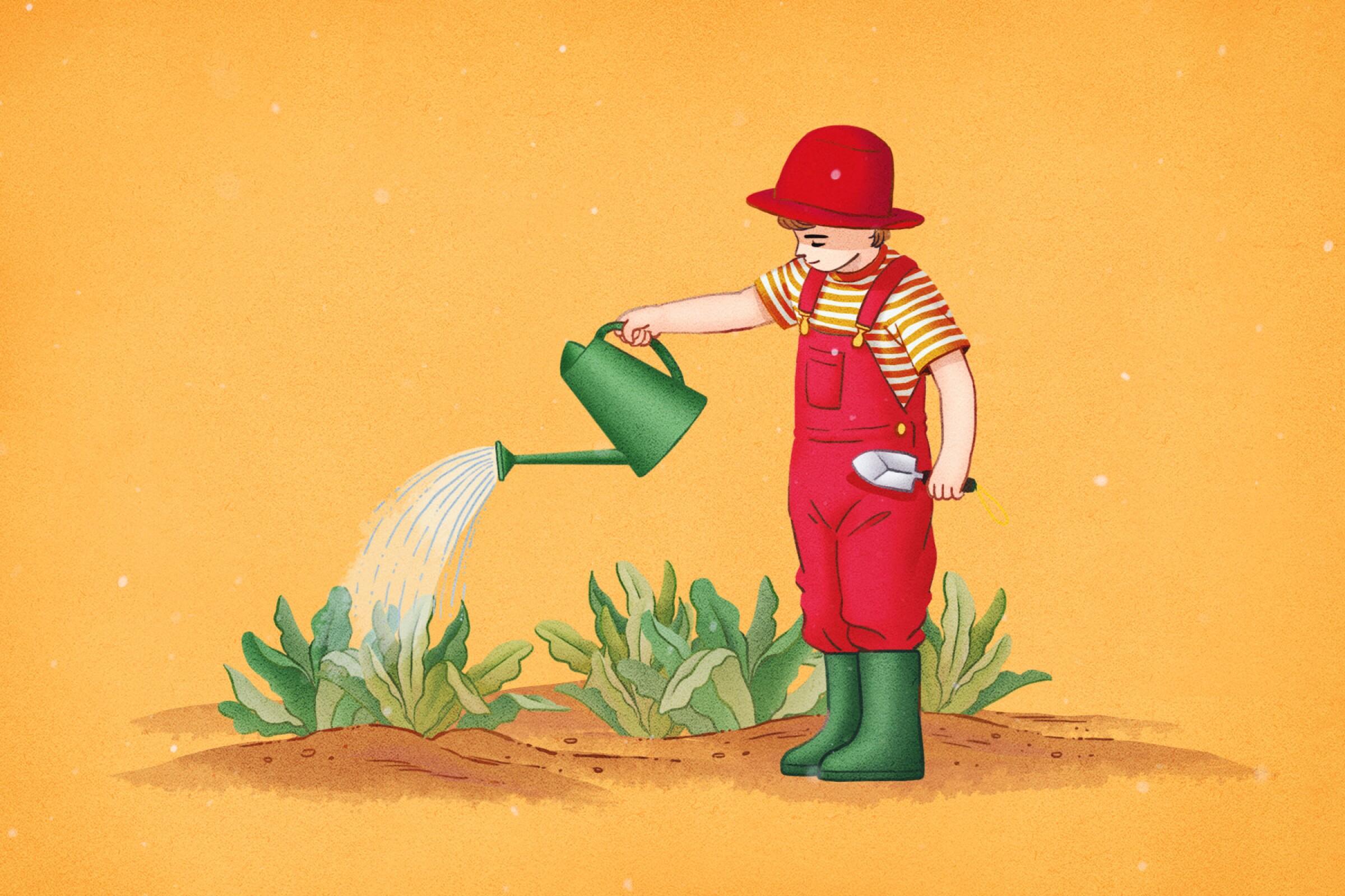 Kids with plants illustration