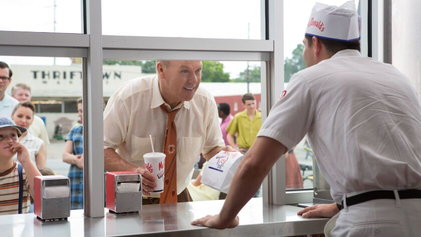 "Michael Keaton as Ray Kroc in a scene from the movie ""The Founder."""