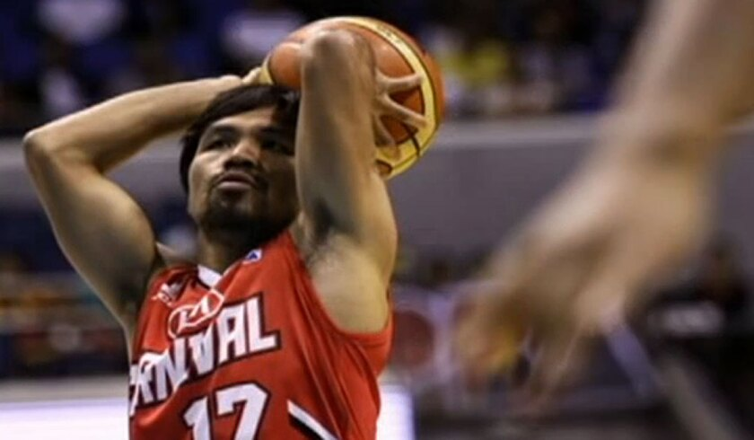 Manny Pacquaio scored his first-ever point for the Kia Carnival of the Philippine Basketball Assn. last week.