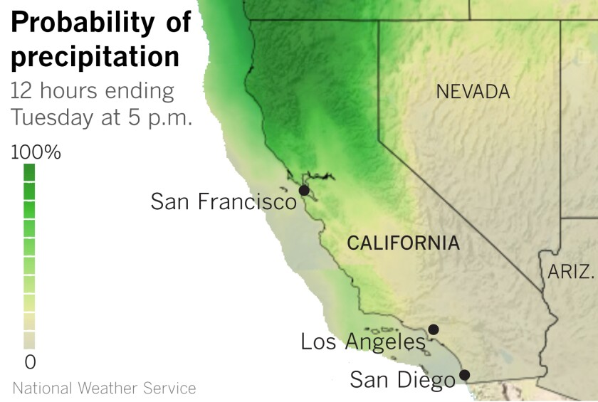 Map showing rain expected in Northern California