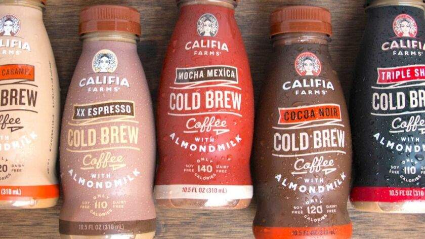 The nut milk-based blended coffees from Califia Farms have no dairy and low sugar content.