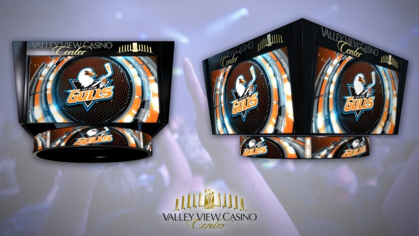 The San Diego Gulls unveil a new scoreboard at the Valley View Casino Center