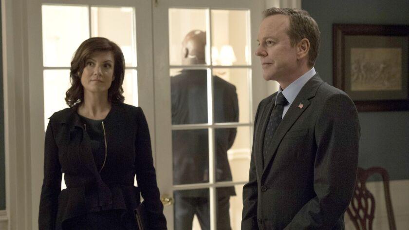 "Zoe McLellan and Kierfer Sutherland in ""Designated Survivor"" on ABC."