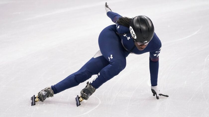 United States' Maame Biney skates during a short track speed skating training session prior to the 2